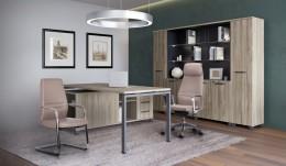 Кабинет руководителя Сигма + кресла Larry Light Grey