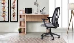 Домашний кабинет стол Eko EK-103 + кресло Nickel Black Серый