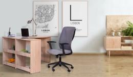 Рабочее место стол Gravity GR-102 + кресло Nickel Black Grey